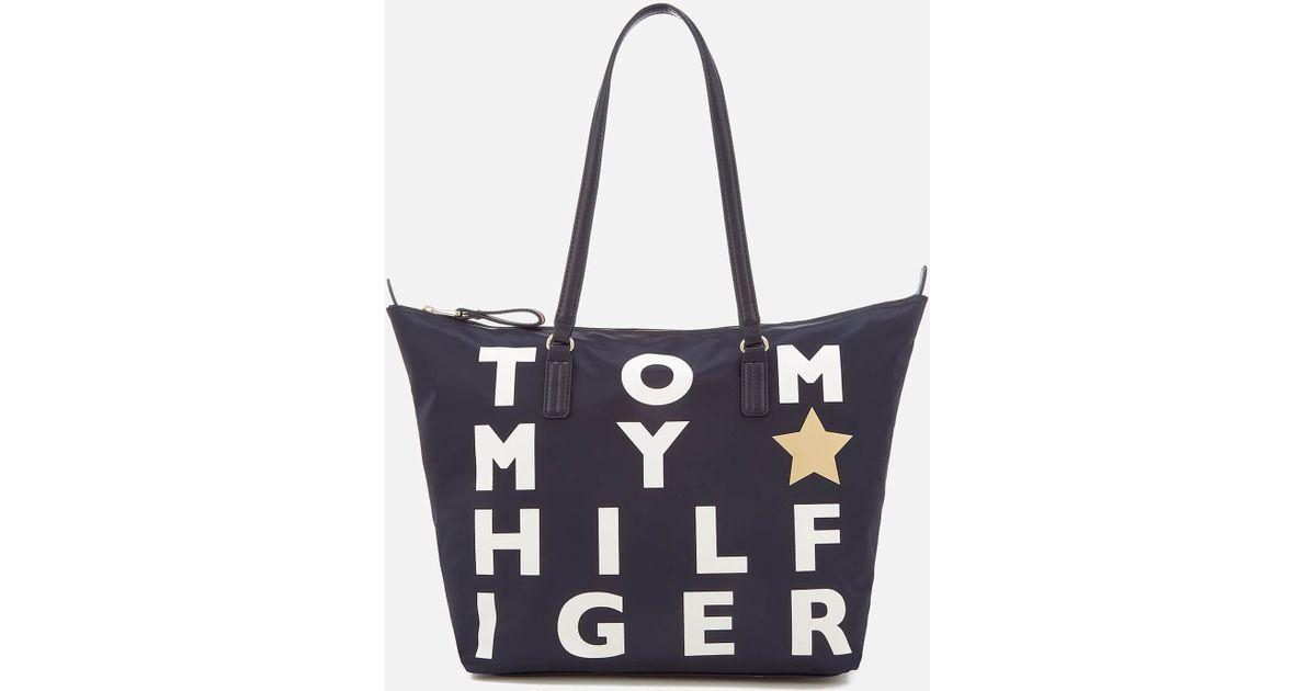 7d757b111d233 Lyst - Tommy Hilfiger Poppy Logo Tote Bag in Blue