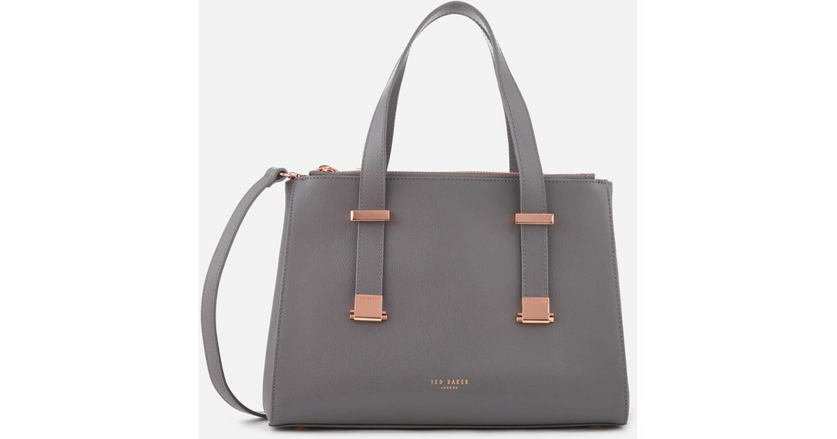 de9cd43923e9 Lyst - Ted Baker Ameliee Adjustable Handle Small Grain Tote Bag in Gray