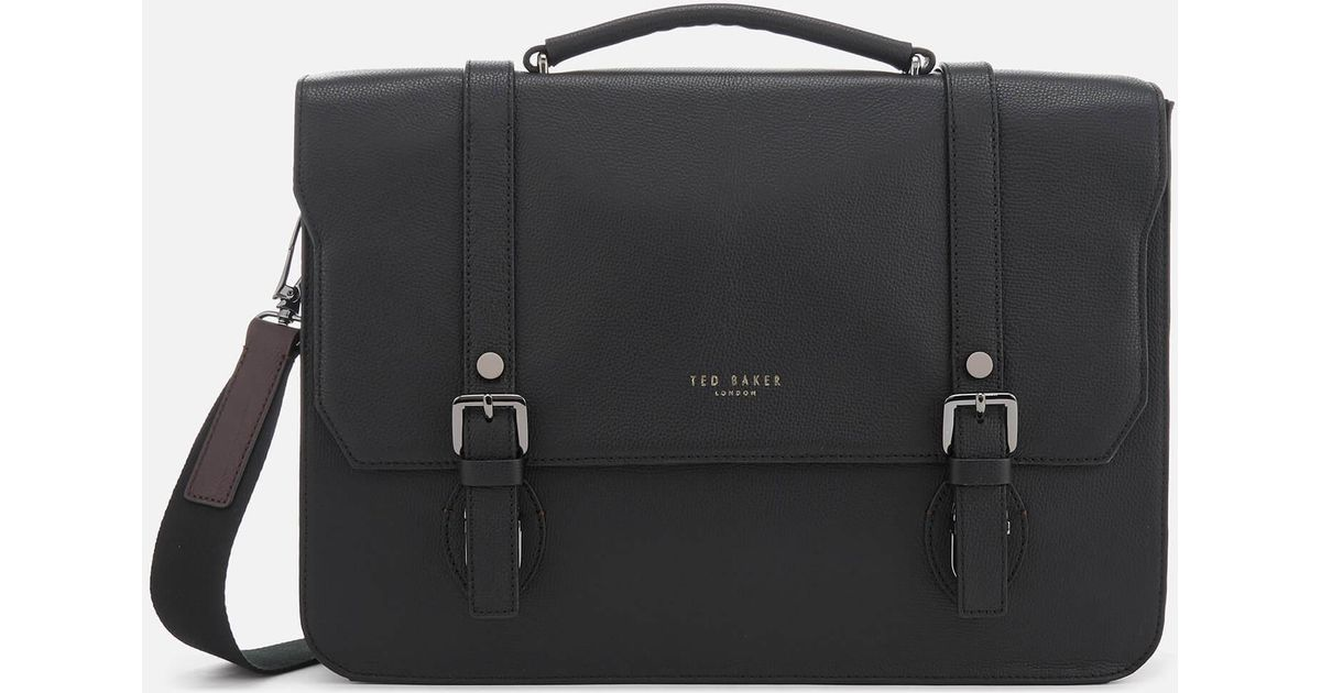 36fd957f3d9 Ted Baker Nevada Leather Satchel in Black - Lyst
