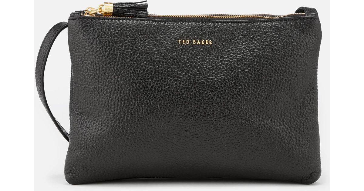 6385c9d58 Lyst - Ted Baker Maceyy Tassle Double Zipped Cross Body Bag in Black