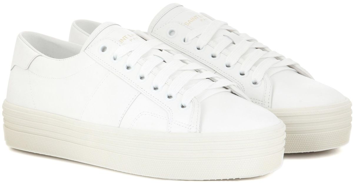 7eed6911512 Lyst - Saint Laurent Signature Court Classic Sl 39 Platform Sneakers in  White