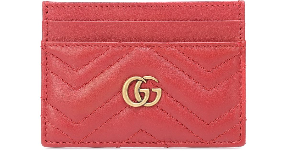 40efd973f4e Gucci GG Marmont Leather Card Holder in Red - Lyst