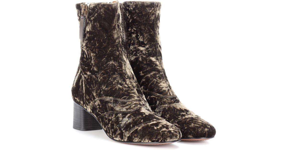 Cheap Comfortable Best Prices Online Chloé Lexie velvet ankle boots Countdown Package For Sale Bz5VVzg6
