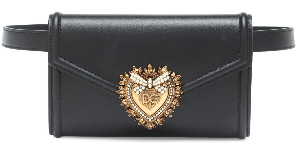 2b22732ab1f Dolce & Gabbana - Black Devotion Leather Belt Bag - Lyst