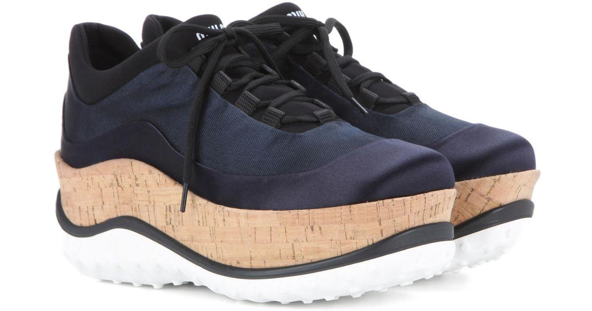 959a293b9b7e Lyst - Miu Miu Satin Platform Sneakers in Blue