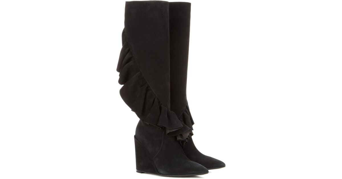 J.W.Anderson Ruffled suede knee-high wedge boots 7h8dbM4Qpm