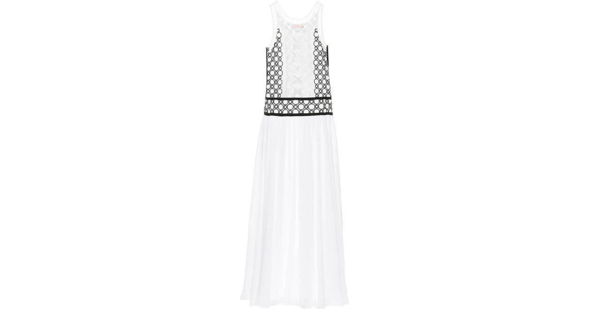 Cost Sale Online Buy Cheap Finishline Helena Tulle-trimmed Guipure Lace And Silk-georgette Maxi Dress - White Tory Burch Sale Lowest Price Low Price Sale Online Clearance Low Shipping Fee myWOUnCXI9