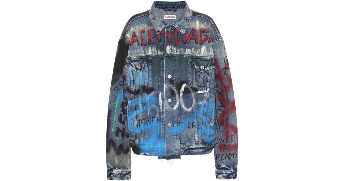 5aca33955e4f20 Balenciaga Handwritten Logo Denim Jacket in Blue - Lyst