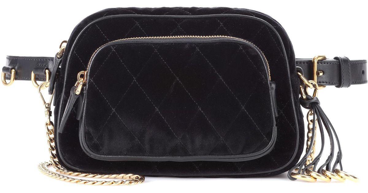Lyst - Prada Velvet Belt Bag in Black