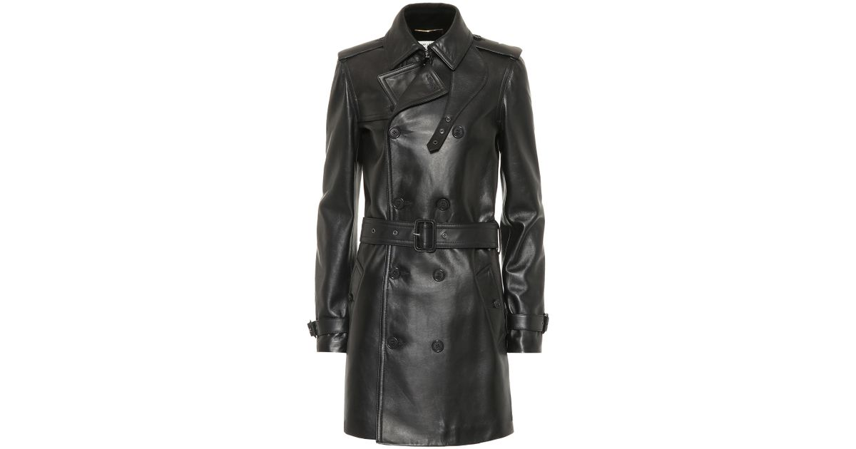 374b337e2f8 Saint Laurent Leather Trench Coat in Black - Lyst