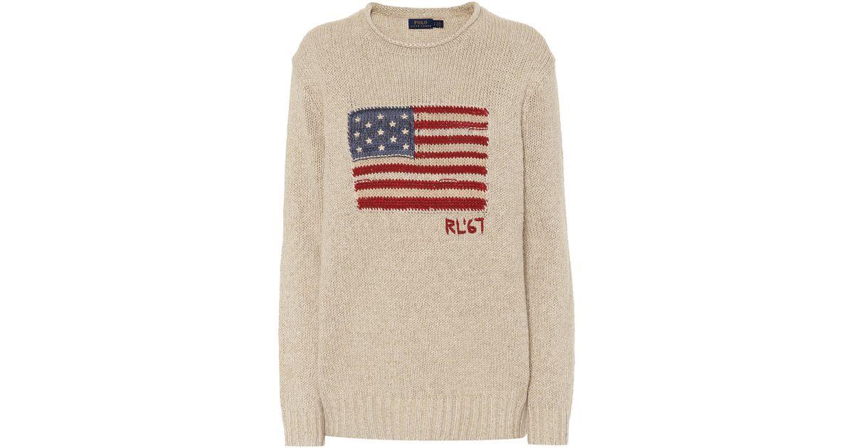 Lyst - Pull intarsia en lin et coton mélangés Polo Ralph Lauren en coloris  Neutre 63791e48f50