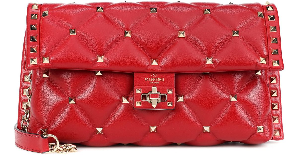 3969f7490c7c6 Valentino Candystud Shoulder Bag in Red - Lyst