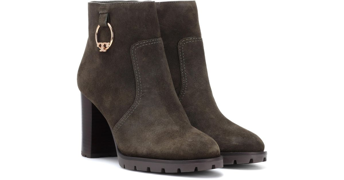274031272fe6 Lyst - Tory Burch Sofia Suede Ankle Boots in Green