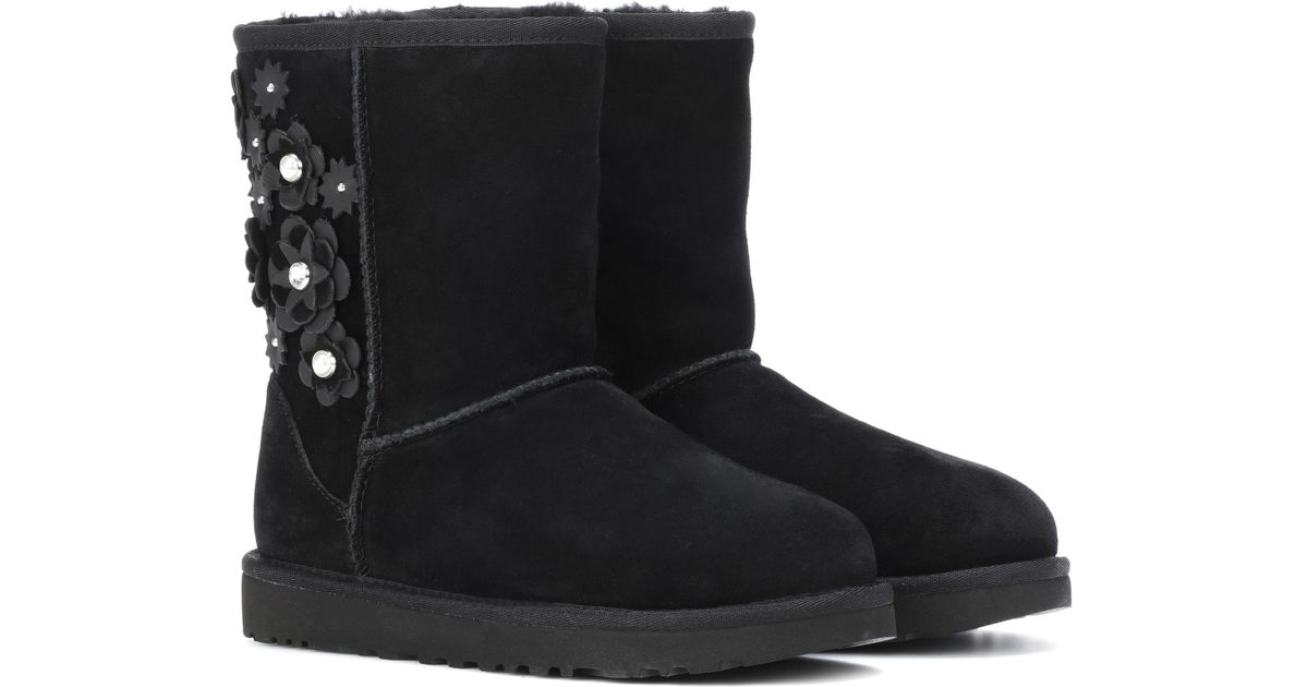 Ugg Black Classic Short Petal Ankle Boots Lyst