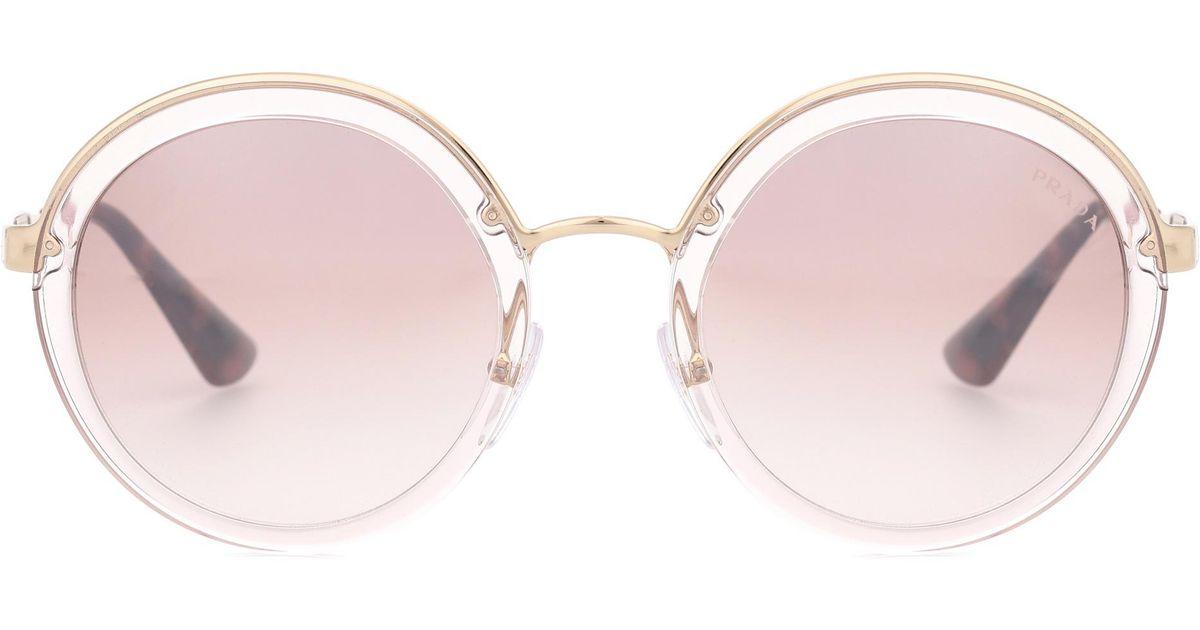 f1345f470a3 ... australia prada round sunglasses in white lyst 90c9e e9046 ...