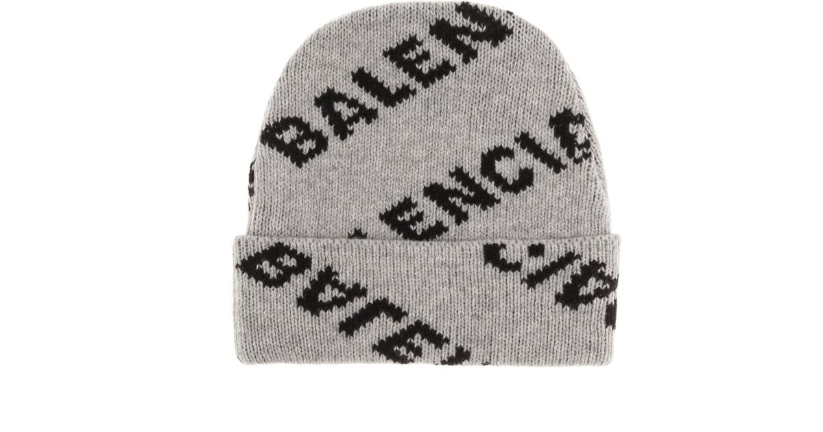 09bf14a111380 Balenciaga Intarsia Wool-blend Beanie in Gray - Lyst