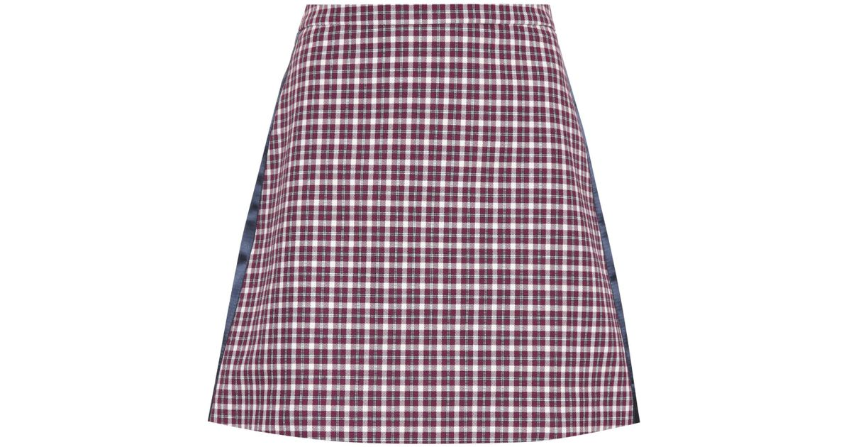 b38296f26 Lyst - Burberry Checked Cotton-blend Miniskirt in Red