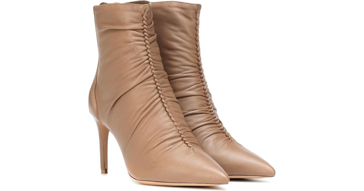 154efb984e93 Lyst - Alexandre Birman Susanna 85 Leather Ankle Boots in Natural