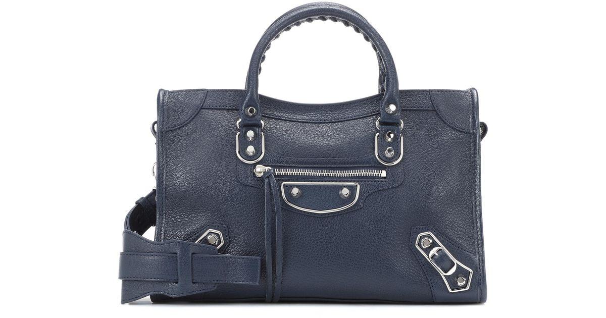a7a9769bd47c Balenciaga Classic Metallic Edge Small City Leather Shoulder Bag in Blue -  Lyst