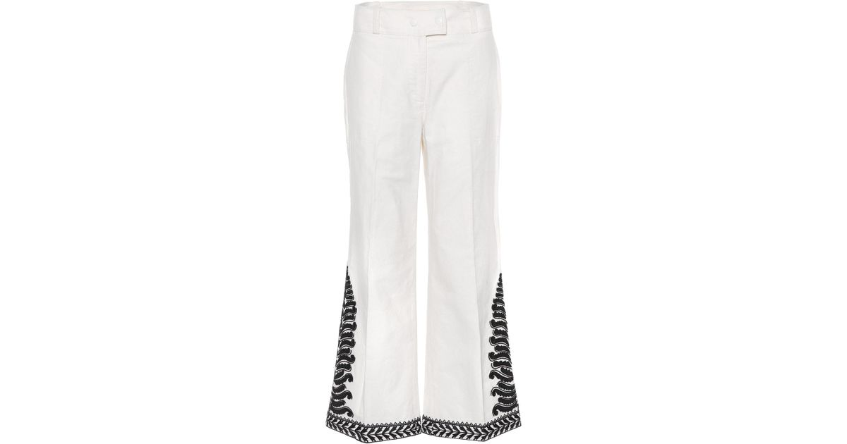 Embroidered cotton trousers Tory Burch Ew3nPPwVu