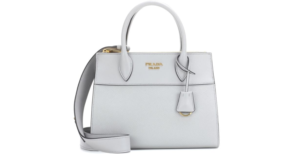 f80a31973d6d49 Prada Paradigme Leather Handbag in Gray - Lyst