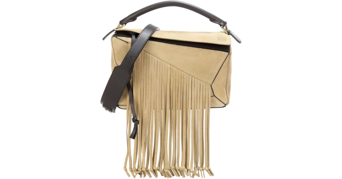 e797fcb7d8ed Lyst Loewe Puzzle Fringes Suede Shoulder Bag In Natural