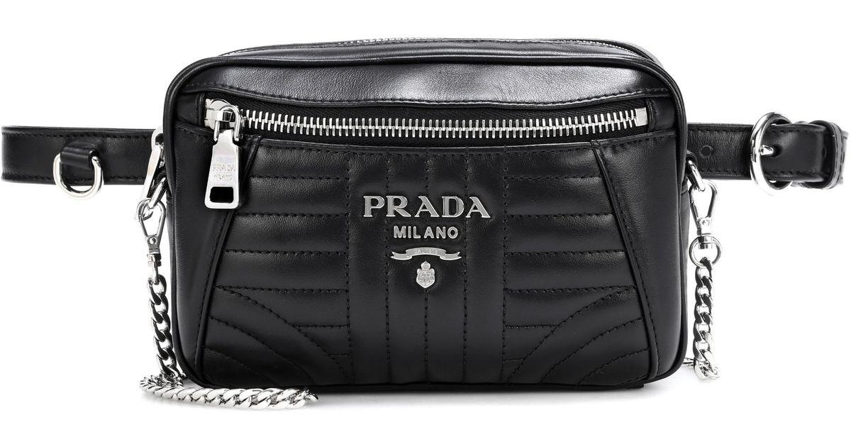 3b0f89f9ae89 Prada Diagramme Leather Belt Bag in Black - Lyst