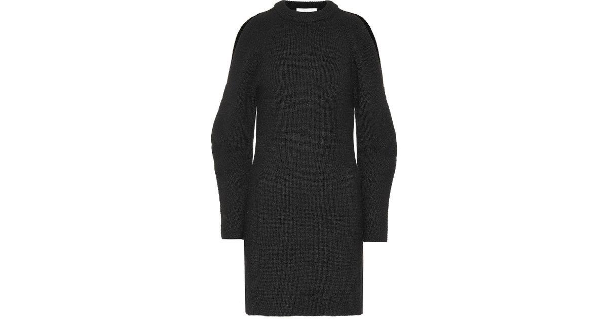 Chloé En Noir Alpaga Mélangés Robe Coloris Pull Lyst Et Laine HYW2DIE9