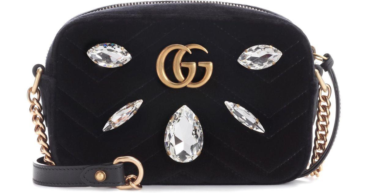 4da8df93f0fe Gucci Gg Marmont Mini Velvet Crossbody Bag in Black - Lyst