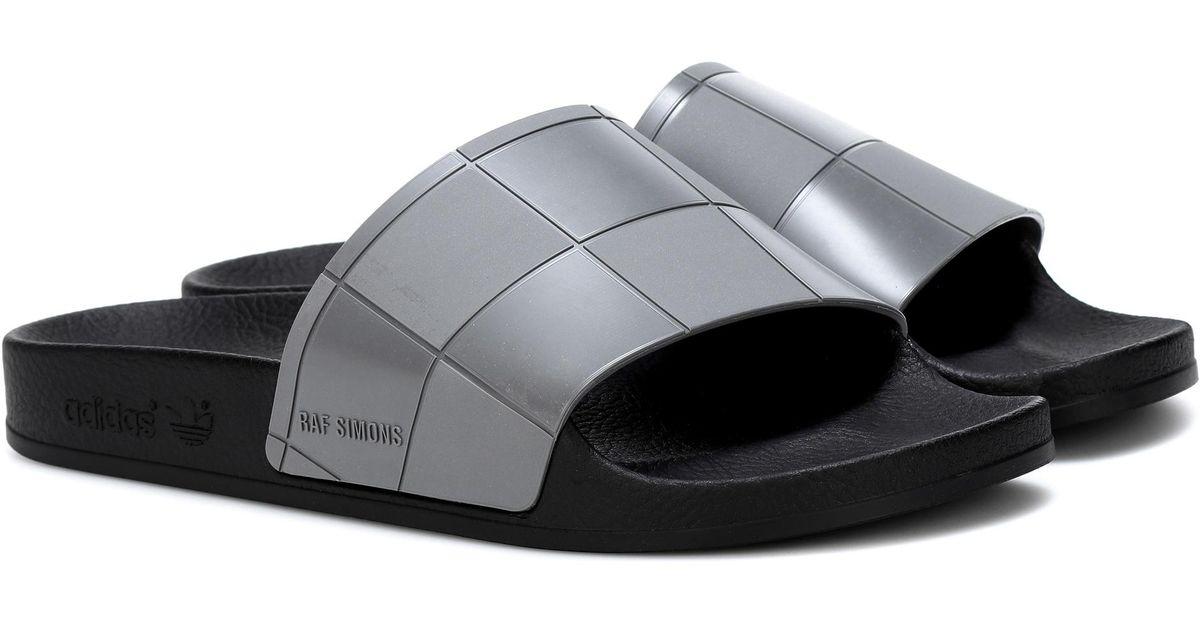 ed892efdfba0 Lyst - adidas By Raf Simons Adilette Checkerboard Slides in Gray