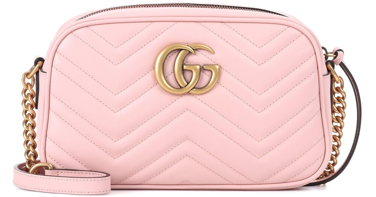 f588fc364af Gucci GG Marmont Leather Crossbody Bag in Pink - Lyst