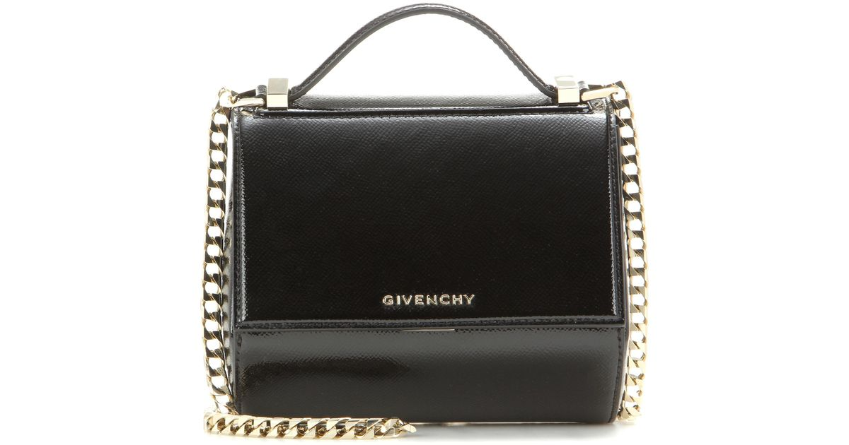 2d3aca1fb7a2 Givenchy Pandora Box Chain Patent Leather Shoulder Bag in Black - Lyst