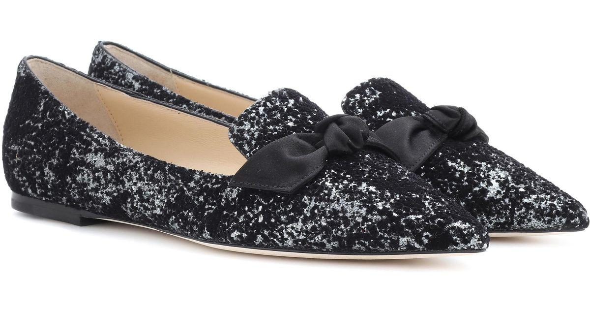 1ba7e971b81 Lyst - Jimmy Choo  gabie  Glitter Ballet Flats in Black