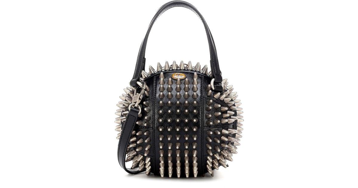 fd9d68de0 Gucci Tifosa Mini Studded Leather Tote in Black - Lyst