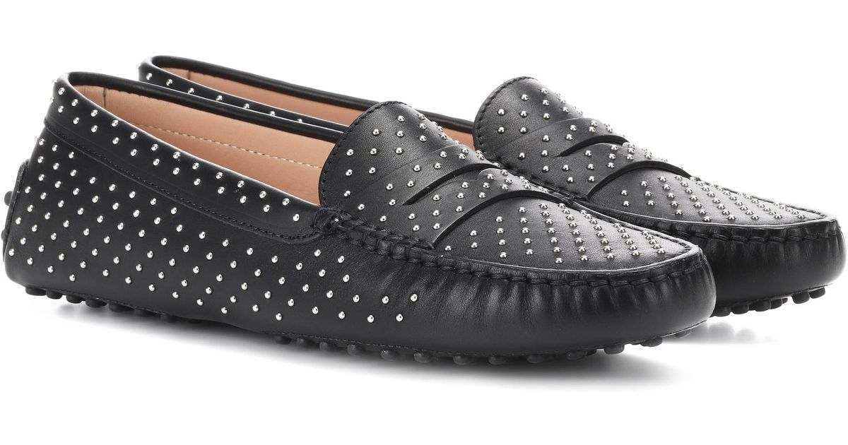 2ab9f86e270 Lyst - Tod s Gommino Studded Leather Loafers in Black