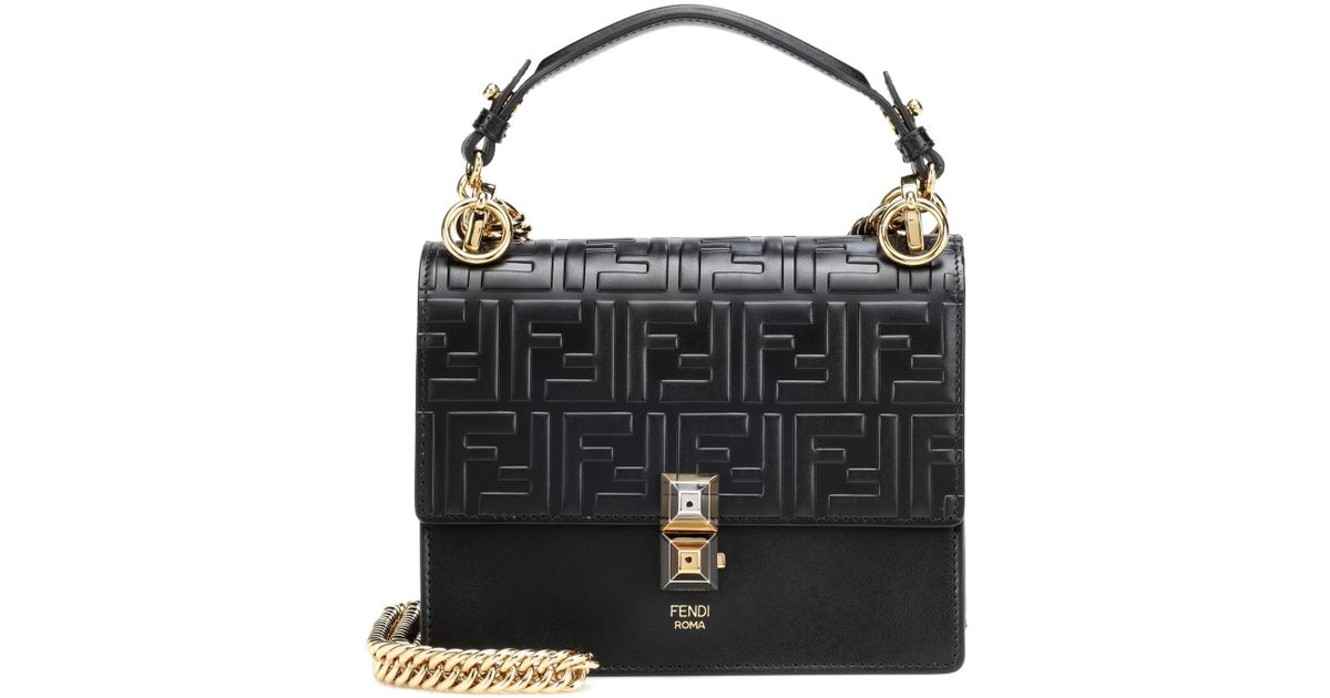 ce23386f5c23 Fendi Kan I Small Leather Shoulder Bag in Black - Lyst