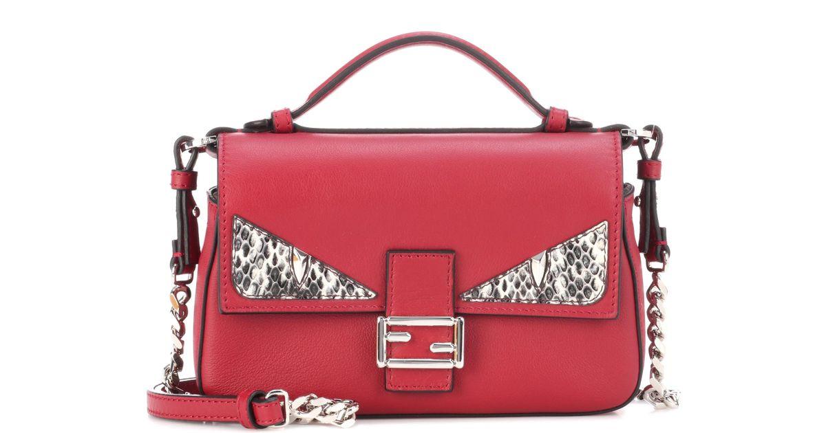 5fd9b5c017e7 Lyst - Fendi Double Micro Baguette Snakeskin-embellished Leather Shoulder  Bag