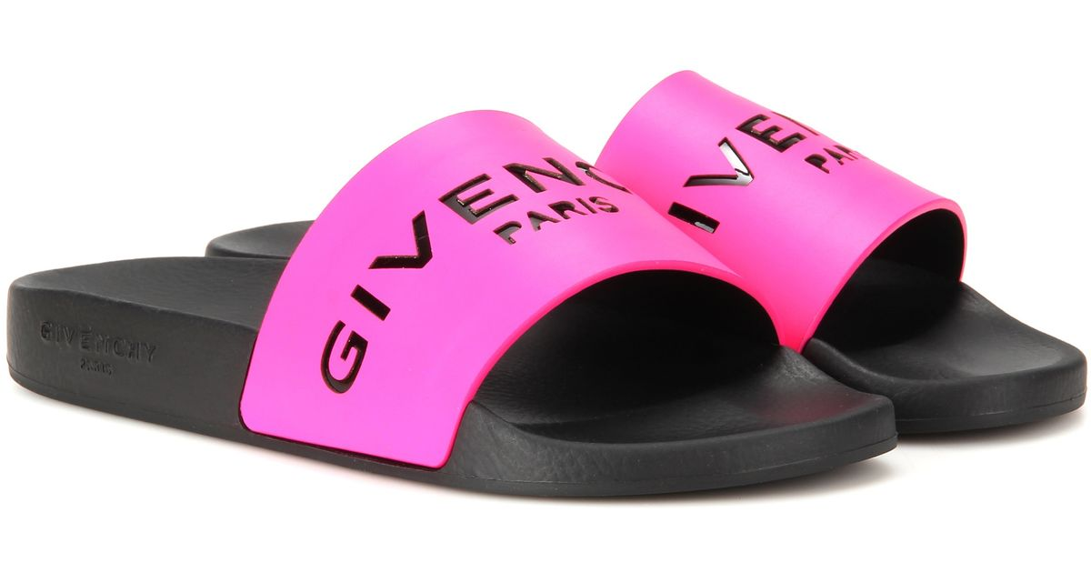 8e116bcc99f Lyst - Givenchy Slide Leather And Rubber Sandals in Pink