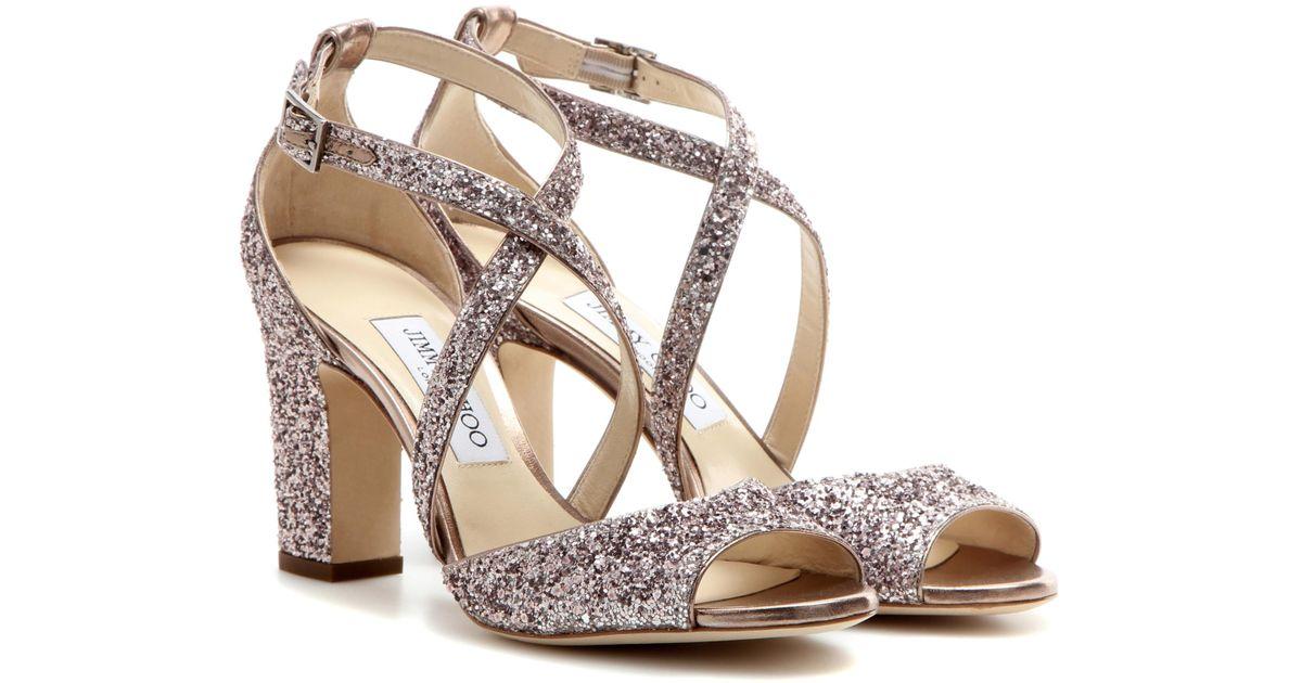 Jimmy choo Carrie 100 glitter-embellished leather sandals fjP8W