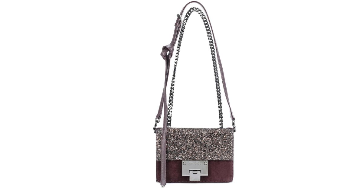 d47b9f0a71 Jimmy Choo Rebel Soft Mini Suede Shoulder Bag in Brown - Lyst