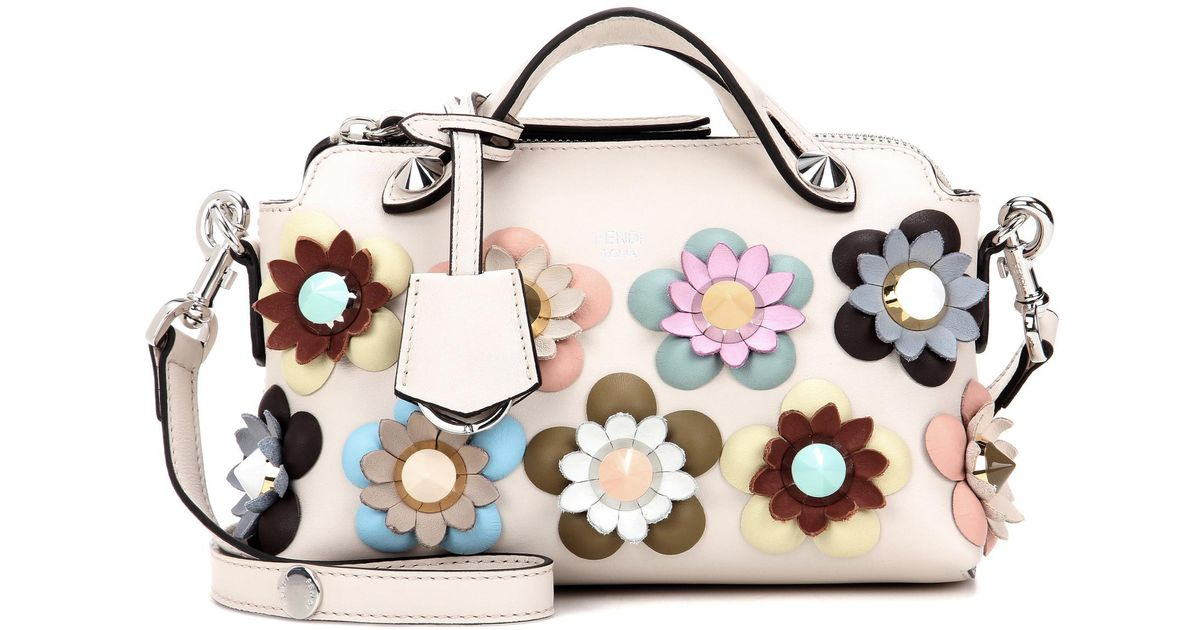 Lyst - Fendi By The Way Mini Embellished Leather Shoulder Bag in White 21d59cee9524f