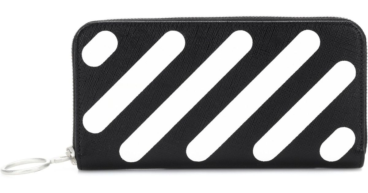350b649945c7 Lyst - Off-White c o Virgil Abloh Diag Medium Leather Wallet in Black