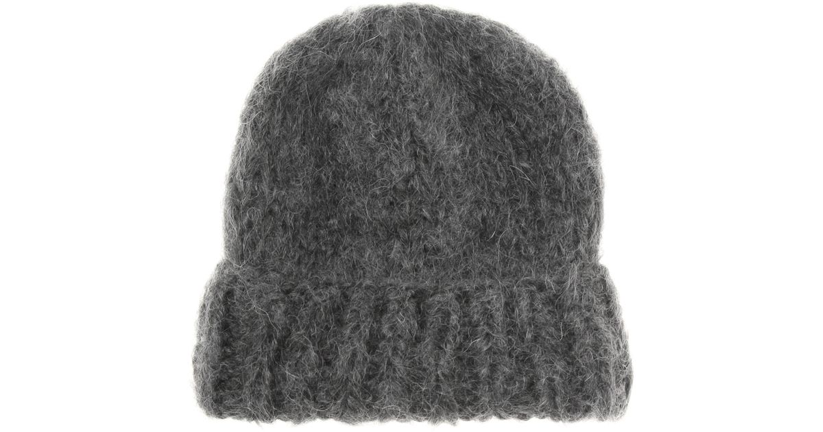 64a188e927327 Ganni Julliard Mohair And Wool Hat in Gray - Lyst