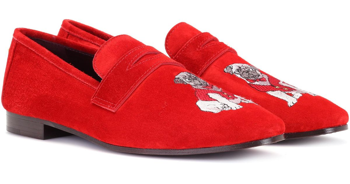 innovative design ad08c 4e0c9 bougeotte-designer-red-Exclusive-To-Mytheresa -Com-Embroidered-Suede-Loafers.jpeg