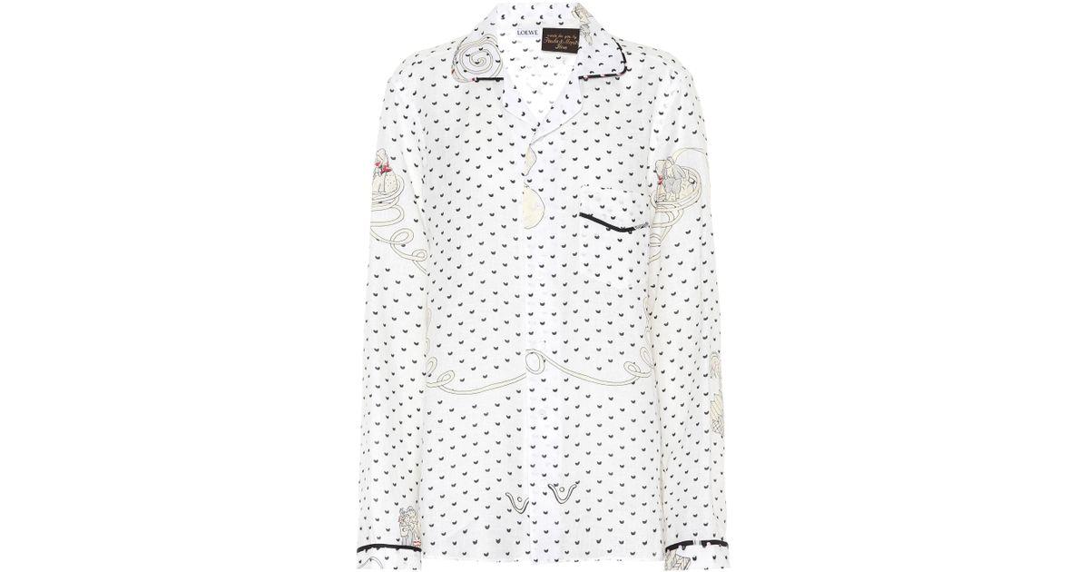 Lyst loewe x paulas ibiza printed linen shirt in white