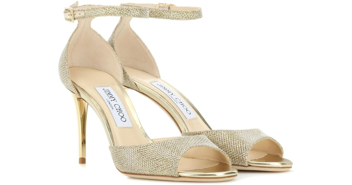 b368727e0566 Lyst - Jimmy Choo Annie 85 Glitter Sandals in Metallic