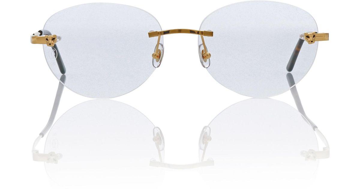 861e0d3a20 Lyst - Cartier Panthère De Cartier Glasses in Metallic