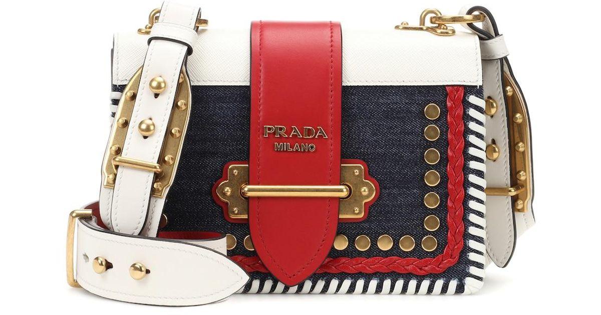 b83e20e8a739 Lyst - Prada Cahier Denim And Leather Shoulder Bag