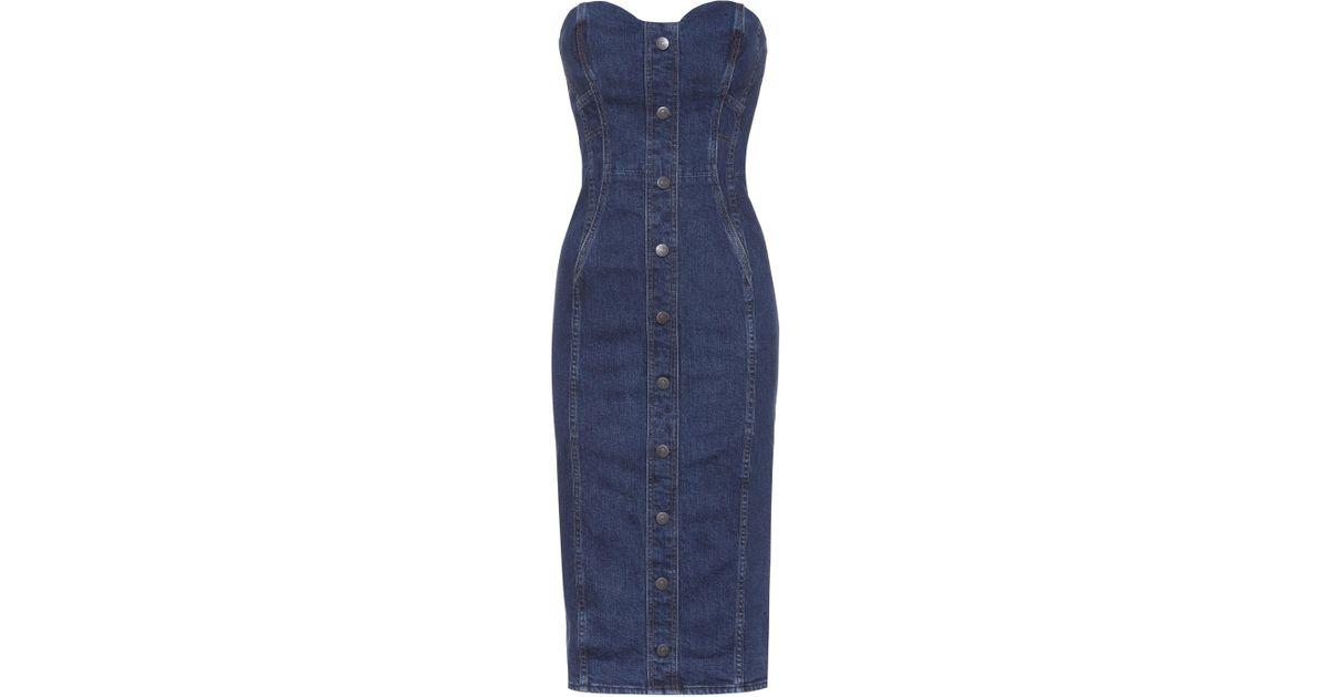 76c09a53c2 Lyst - Veronica Beard Denim Bustier Dress in Blue
