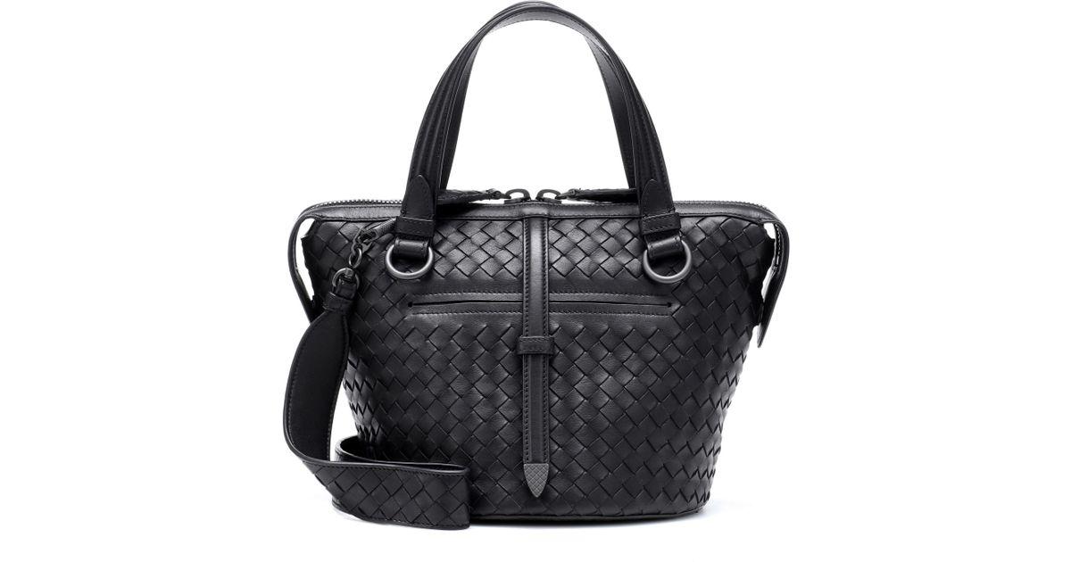 Lyst - Bottega Veneta Tambura Leather Shoulder Bag in Black dca065688db03